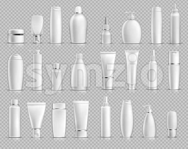 Realistic Cosmetic bottles mock up set on silver background. Blank templates of empty and clean white plastic containers. Vector packaging tubes Stock Vector
