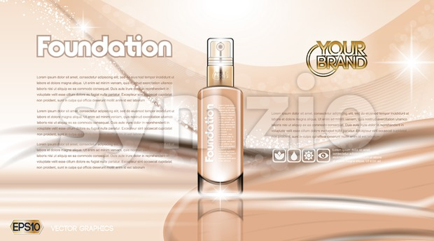 Glamorous foundation ads Stock Vector