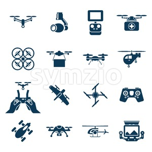 Digital vector flying drone objects color simple flat icon set collection, isolated Stock Vector
