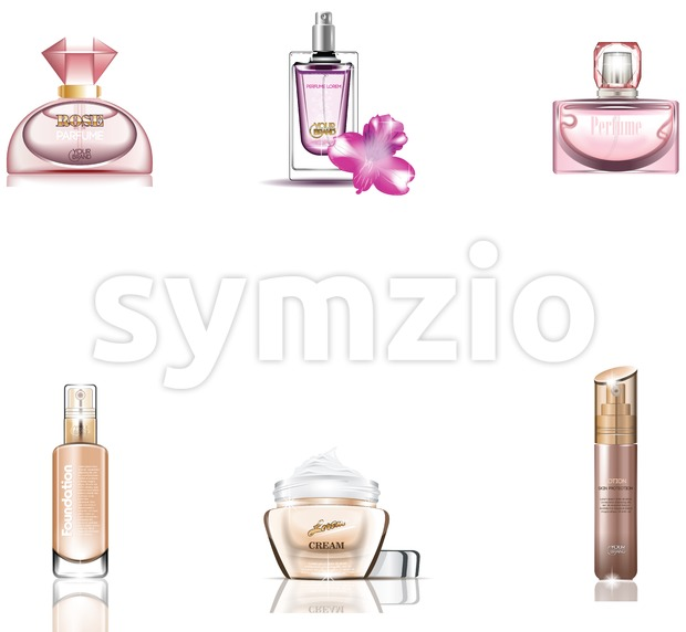Cosmetics Packages 3d design Beauty Products vector. Realistic perfume and lotions mock up set isolated pack on white background. Brand ...