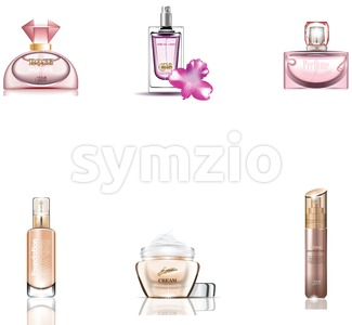 Cosmetics Packages 3d design set Stock Vector