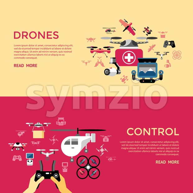 Digital vector flying drone control objects color simple flat icon set collection, isolated Stock Vector