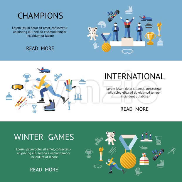 Digital vector winter games objects color simple flat icon set collection, isolated Stock Vector