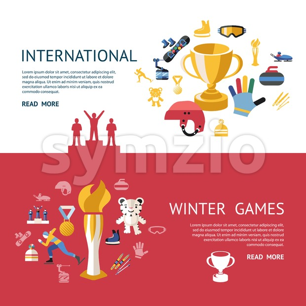 Digital vector winter games objects color simple flat icon set collection, champions infographics, isolated