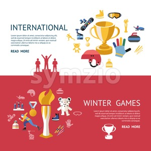 Digital vector winter games objects color simple flat icon set collection, champions infographics, isolated Stock Vector