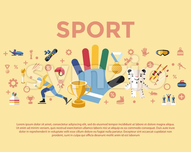 Digital vector winter games objects color simple flat icon set collection, sport infographics, isolated Stock Vector