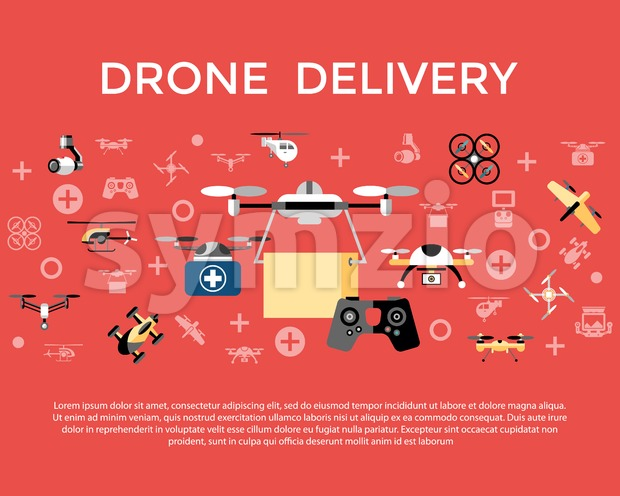 Digital vector flying drone delivery objects color simple flat icon set collection, isolated Stock Vector