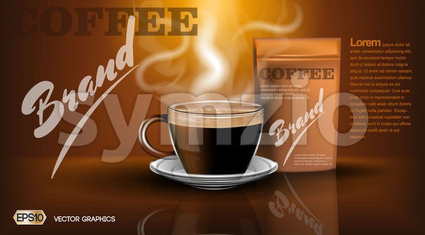 Realistic hot coffee cup and package Mockup template for branding, advertise product designs. Fresh steaming drink in a mug with shadows reflections Stock Vector