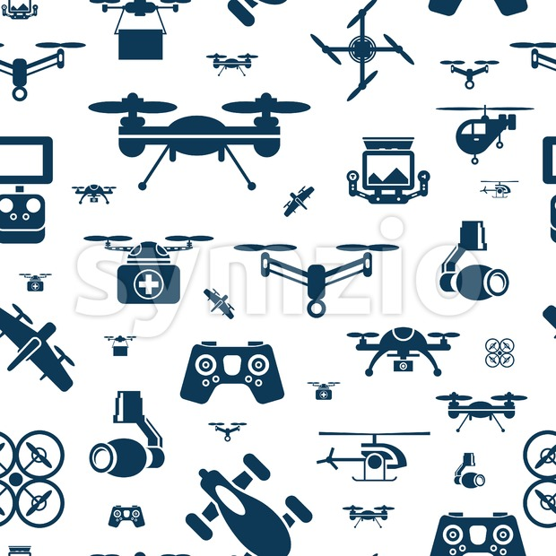 Digital vector flying drone objects color simple flat icon set collection, isolated seamless pattern Stock Vector