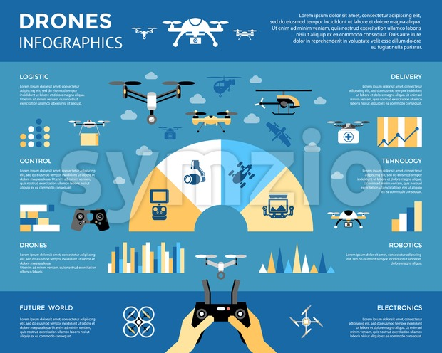 Digital vector flying drone infographics objects color simple flat icon set collection, isolated Stock Vector