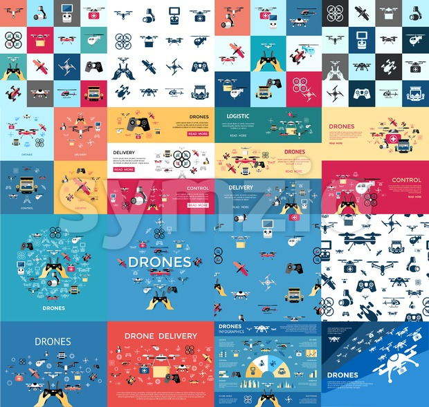 Digital vector flying drone infographics objects color simple flat icon set collection, isolated