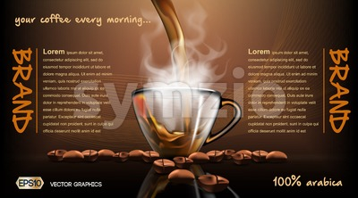 Realistic splash flowing coffee Mockup template for branding, advertise and product designs. Fresh steaming hot drink in a glass transparent cup  Stock Vector