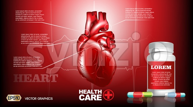 Digital Vector Infografic Realistic Human Heart. Premium quality illustration detailed organs. Health care drug pills Stock Vector
