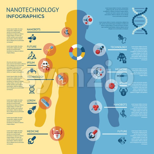 Digital smart medical nano robots concept objects color simple flat icon set collection, isolated healthcare, dna pills and implants infographics ...