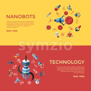 Digital smart medical nano robots concept objects color simple flat icon set collection, isolated healthcare, dna pills and implants infographics Stock Vector