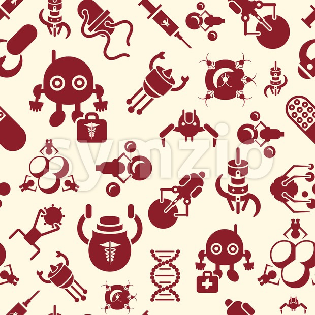 Digital smart medical nano robots concept objects color simple flat icon set collection, isolated healthcare, dna pills and implants, seamless ...