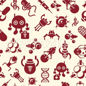 Digital smart medical nano robots concept objects color simple flat icon set collection, isolated healthcare, dna pills and implants, seamless pattern Stock Vector