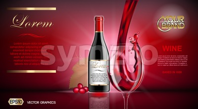 Vector Realistic Wine Glass and Bottle Mock up. Red vine grapes. Natural vibrant background with place for your branding. 3d illustration  future Stock Vector