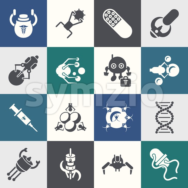 Digital smart medical nano robots concept objects color simple flat icon set collection, isolated healthcare, dna pills and implants