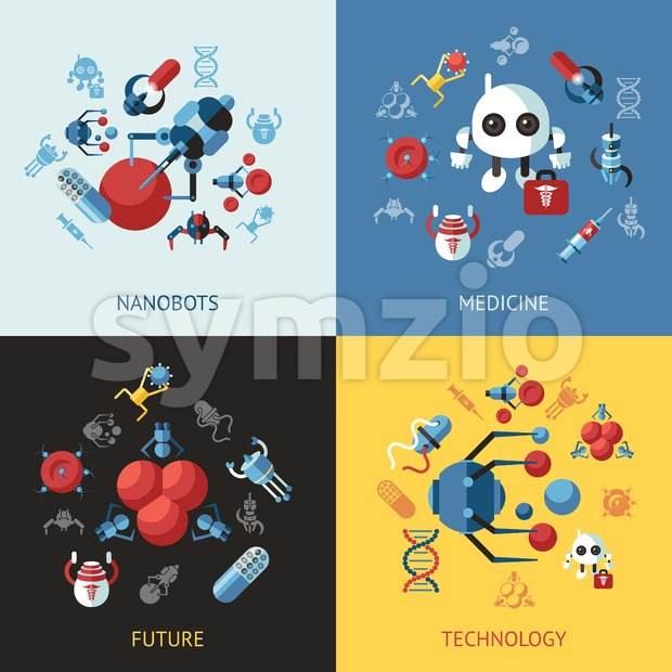 Digital smart medical nano robots concept objects color simple flat icon set collection, isolated healthcare, dna pills and implants infographics