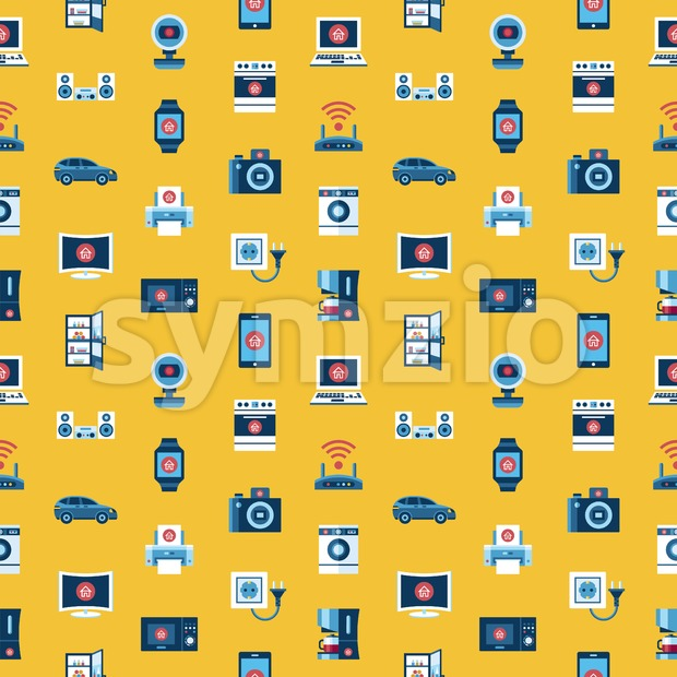 Digital vector yellow internet of things concept objects color simple flat icon set collection, isolated seamless pattern Stock Vector