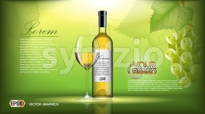 Vector Realistic Wine Bottle Mock up. White vine grapes. Green natural background with place for your branding. 3d illustration  future design or Stock Vector
