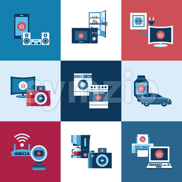 Digital vector smart internet of things concept objects color simple flat icon set collection, isolated Stock Vector
