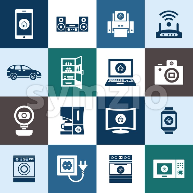 Digital vector smart internet of things concept objects color simple flat icon set collection, isolated