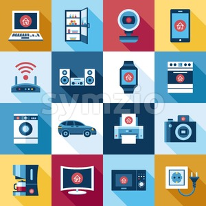 Digital smart flying internet of things concept objects color simple flat icon set collection, isolated Stock Vector