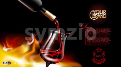 Vector Realistic Pouring Red Wine Glass. Logo advertise mock up. Vibrant background with place for your branding. 3d illustration  future design of  Stock Vector