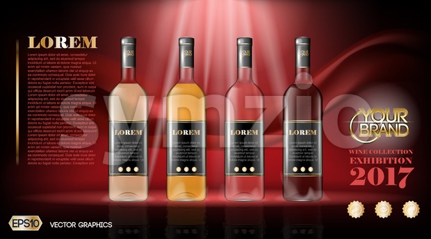 Vector wine bottles realistic style mock up. Detailed background with place for logo. Layout for future design and Advertise of ...