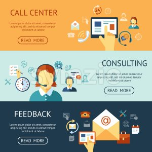 Digital call center and customer support objects color simple flat icon set collection, isolated infographics Stock Photo