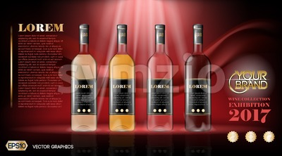 Vector wine bottles realistic style mock up. Detailed background with place for logo. Layout  future design and Publicity of your products Stock Vector