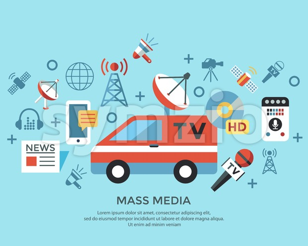 Digital mass media objects color simple flat icon set collection, isolated infographics Stock Vector