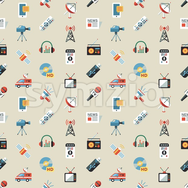 Digital mass media objects color simple flat icon set collection, isolated seamless pattern