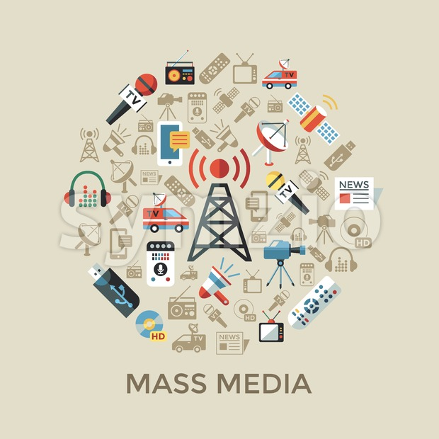 Digital mass media objects color simple flat icon set collection, isolated
