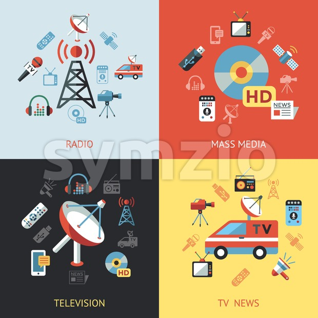 Digital mass media objects color simple flat icon set collection, isolated Stock Vector
