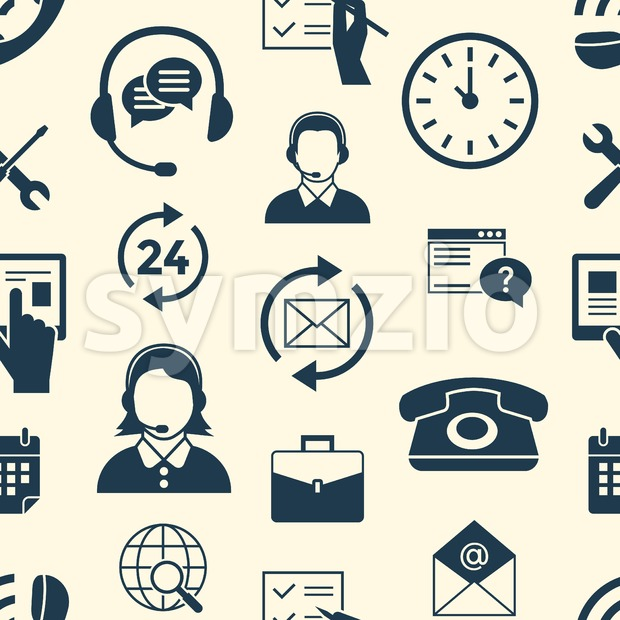 Digital call center and customer support objects color simple flat icon set collection, isolated seamless pattern Stock Vector