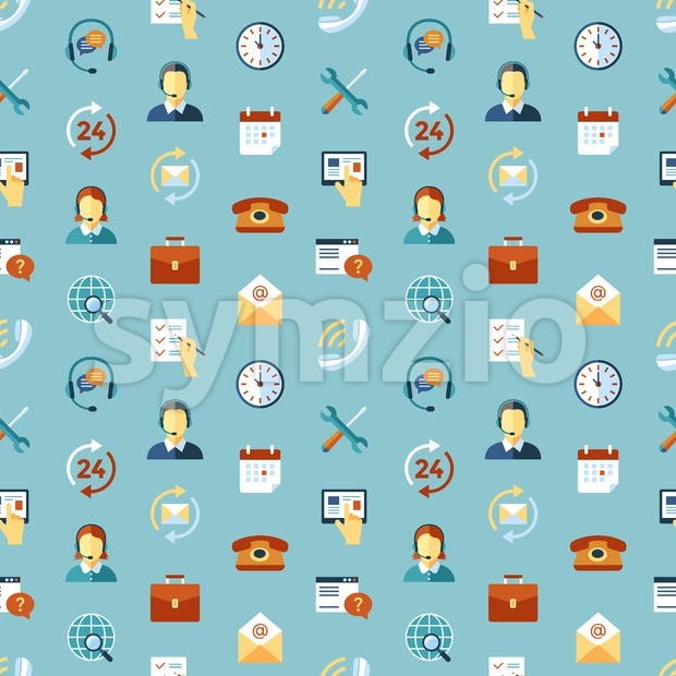 Digital call center and customer support objects color simple flat icon set collection, isolated seamless pattern