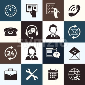 Digital call center and customer support objects color simple flat icon set collection, isolated Stock Vector