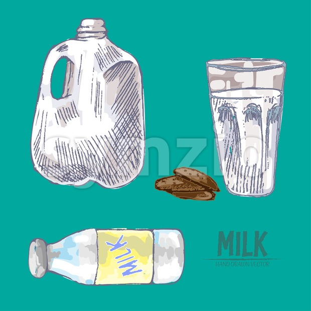 Digital vector detailed line art fresh milk in glass and packed hand drawn retro illustration collection set. Thin artistic pencil outline. Vintage Stock Vector