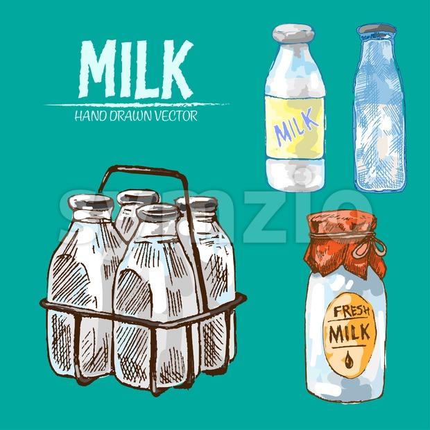 Digital vector detailed line art fresh milk in glass bottles hand drawn retro illustration collection set. Thin artistic pencil outline. Vintage ink Stock Vector