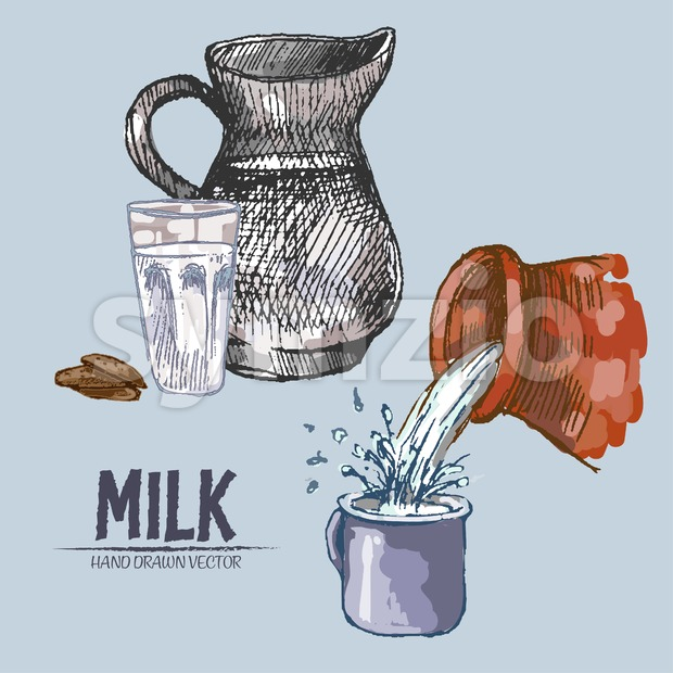 Digital vector detailed line art pouring splash and pitcher milk hand drawn retro illustration collection set. Thin artistic pencil outline. Vintage Stock Vector
