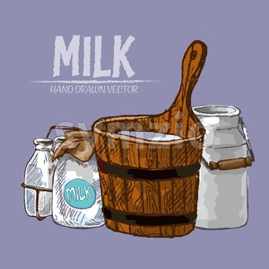 Digital vector detailed line art milk in old different packages hand drawn retro illustration collectiona set. Thin artistic pencil outline. Vintage Stock Vector