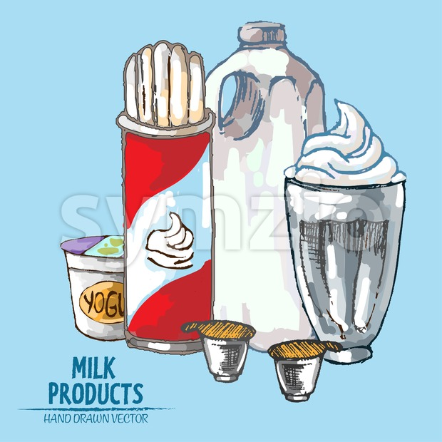 Digital vector detailed line art milk products and whipped cream hand drawn retro illustration collection set. Thin artistic pencil outline. Vintage Stock Vector