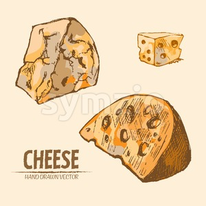 Digital vector detailed line art sliced cheese with slices hand drawn retro illustration collection set. Thin artistic pencil outline. Vintage ink Stock Vector