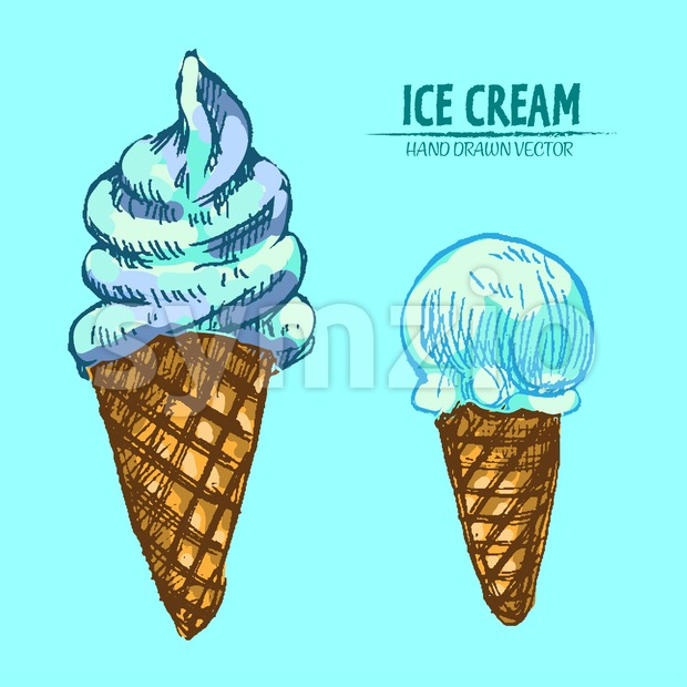 Digital vector detailed line art delicious ice cream in cones hand drawn retro illustration collection set. Thin artistic pencil outline. Vintage ink Stock Vector