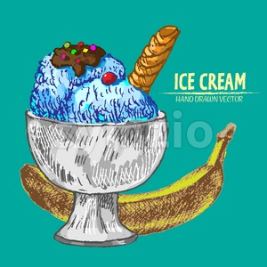 Digital vector detailed line art sundae ice cream banana in glass bowl hand drawn retro illustration collection set. Thin artistic pencil outline. Stock Vector