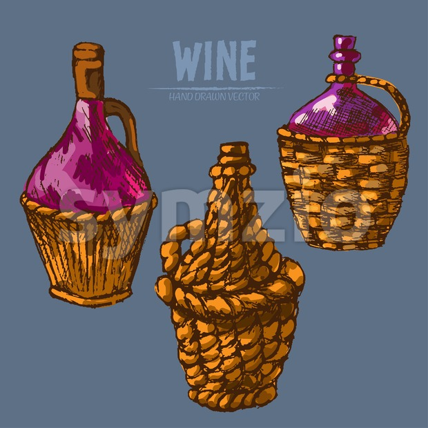 Digital vector detailed line art traditional wine pitchers hand drawn retro illustration collection set. Thin artistic pencil outline. Vintage ink ...