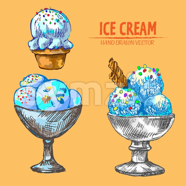Digital vector detailed line art ice cream balls in bowls and hand drawn retro illustration collection set. Thin artistic pencil outline. Vintage ink Stock Vector